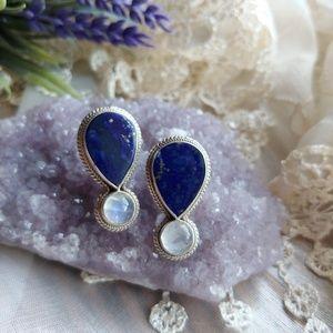 Vintage Genuine Lapis Lazuli & Moonstone Earrings